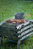 Picnic BBQ grills that have Boiler and soup on the stove on med Stock Photos