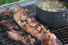 Picnic BBQ grills that have Boiler and soup on the stove on med Royalty Free Stock Images