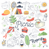 Picnic and BBQ Hand Drawn Doodle. Camping Outdoor Vacation Freehand Set Royalty Free Stock Image