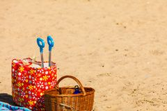 Picnic on beach durring summertime objects Royalty Free Stock Images