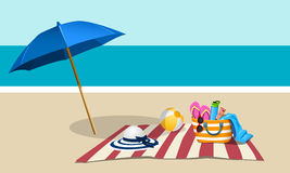 Picnic on the beach with umbrella. Illustration Royalty Free Stock Photo