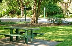 Picnic bench. In city gardens Royalty Free Stock Image