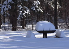 Picnic Bench Covered With Snow Stock Photography