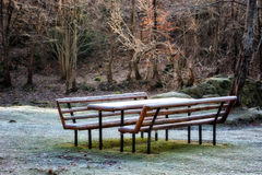 Picnic bench with frost in the forest landscape. Royalty Free Stock Photography