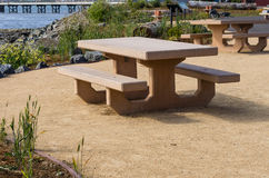 Picnic bench in a local park Royalty Free Stock Photo