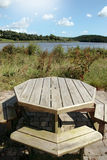 Picnic bench view Royalty Free Stock Photography