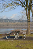 Picnic bench with a view Oregn parks. Royalty Free Stock Photo