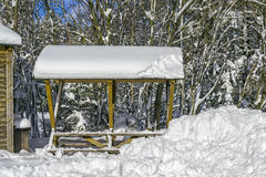 Picnic Bench in Winter Royalty Free Stock Photo