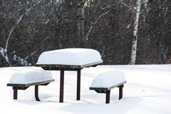 Picnic bench in winter Royalty Free Stock Images
