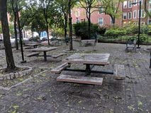 Picnic benches Philadelphia in a park stock images