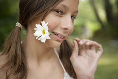 Picnic Biting Flower Stem Royalty Free Stock Images
