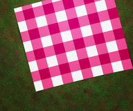 Picnic Blanket. Pink and White Picnic Blanket Stock Photos