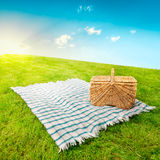 Picnic Blanket & Basket Royalty Free Stock Photos