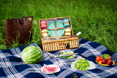Picnic blanket and basket. With fruits and wine bottle in a sunlit grassy meadow Royalty Free Stock Photos