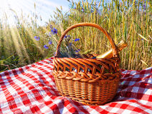Picnic. Blanket with champagne, strawberries and croissant Royalty Free Stock Images