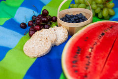 Picnic blanket with colorful fruits on it. Royalty Free Stock Photos