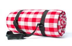 Picnic blanket isolated on white background. Plaid picnic blanket isolated on white background Royalty Free Stock Photo