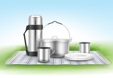 Picnic blanket with tableware Royalty Free Stock Photo