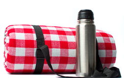 Picnic blanket and a thermos isolated Royalty Free Stock Photos