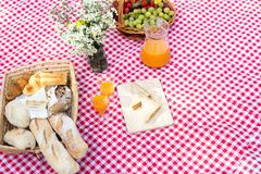 Picnic bread crossiant basket with fruit on  red white cloth. Picnic bread croissant basket with fruit on  red white cloth and vase flower with jar of orange Stock Image