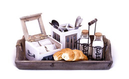 Picnic breakfast set. Isolated Picnic breakfast set on wooden tray Stock Images