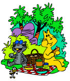 Picnic Cats. Cartoon Cats making picnic in the forest Stock Images