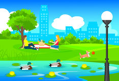 Picnic In City Park Template Stock Photography