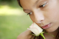 Picnic Close up Girl Holding White Rose Royalty Free Stock Images