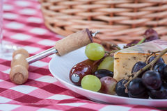 Picnic. Close up of plate of fruit and cheese on red checked table cloth Royalty Free Stock Image