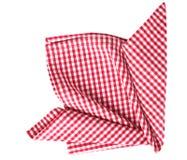 Picnic cloth folded desoration isolated. Gingham picnic cloth decoration cloth isolated Stock Photo