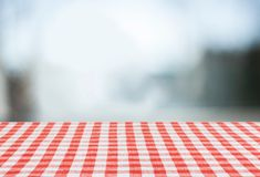 Picnic cloth. Kitchen product tablecloth display summer wood Royalty Free Stock Photo
