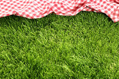 Picnic cloth on meadow Royalty Free Stock Images