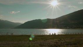 Picnic on the coastline stock video
