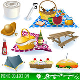 Picnic collection. Collection of different picnic elements: food, beverages, bench, fruits and so on royalty free illustration