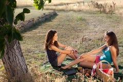 Picnic con gli amici di ragazza Immagini Stock Libere da Diritti