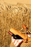 Picnic in the country. A summer picnic in a wheatfield Stock Image