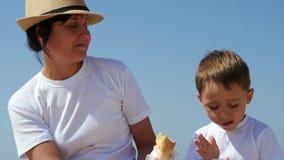 Picnic dal mare un giorno soleggiato La madre alimenta il suo primo piano del bambino Famiglia che riposa all'aperto archivi video