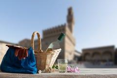Picnic davanti al Palazzo Vecchio a Firenze Immagini Stock Libere da Diritti