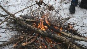 Picnic del fuoco di accampamento di inverno stock footage