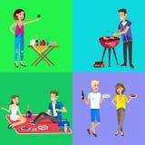 Picnic della famiglia Partito del BBQ Alimento e barbecue Immagine Stock