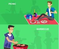 Picnic della famiglia Partito del BBQ Alimento e barbecue Fotografia Stock Libera da Diritti