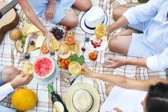 Picnic di estate con la vista superiore del vino bianco Immagini Stock Libere da Diritti