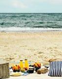Picnic di estate sulla spiaggia Utensili di picnic del servizio blu con la VE immagini stock libere da diritti
