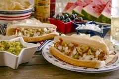 Picnic di vacanza estiva con i hot dog ed i chip fotografie stock libere da diritti