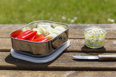 Picnic, Dip and crudites, paprika and kohlrabi. On wood table in garden Royalty Free Stock Images