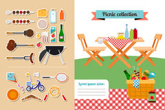 Picnic elements collection Stock Images