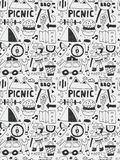 Picnic elements doodles hand drawn line icon, eps10 Stock Image