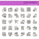 Picnic Elements. Thin Line and Pixel Perfect Icons royalty free illustration