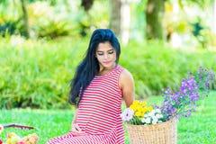 Picnic felice della donna incinta Fotografie Stock Libere da Diritti