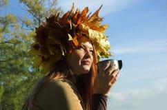 picnic felice della ragazza Fotografia Stock Libera da Diritti